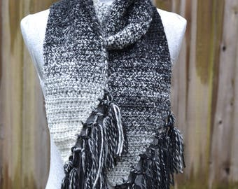 Cream and Black Fringe Scarf Crochet Ready to Ship