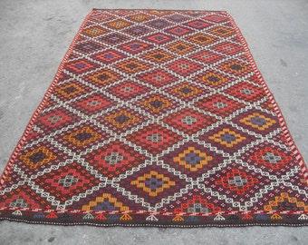 kilim rug free shipping VINTAGE TURKİSH mut cecim kilim Anatolian handwoven kilim  decorative kilim - SİZE : 73'' X 126'' ( 183 cm X 315 cm)