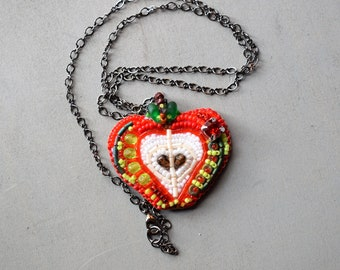 Apple Pendant Swarovski® crystal Bead Embroidery Beadwork Funky Necklace