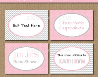 Candy Buffet Labels, Baby Shower Labels, Printable Buffet Cards, Bridal Shower Labels, Tent Cards, 1st Birthday Labels, Food Labels BB1