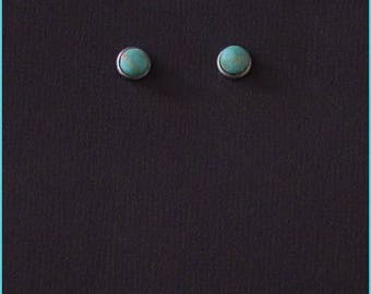6mm Turquoise, high dome post earrings, one pair