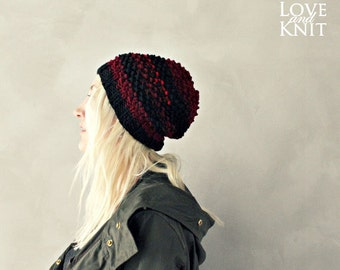 red slouchy hat black slouchy hat red black knit hat knitted beanie hand knit slouchy hat beanie . striped beanie women . baggy hat