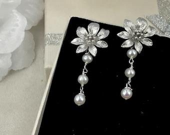 Dora -Vintage Style Freshwater Pearl and Matte Flower Wedding Earrings