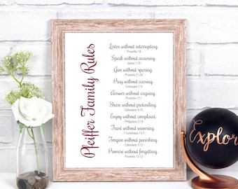 Family Rules With Bible Verses, Family Rules Sign Custom, Family Rules Wall Art, Family Rules Poster, Family Rules Print, Family Picture Art