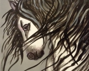 16x20 Abstract Black and White Painting of White Horse