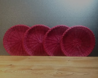 Wicker Paper Plate Holders Set of 4 Hot Pink Rattan Plate Holders Vintage Picnic Party Gear