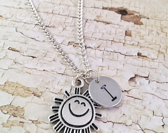 You are my Sunshine necklace, personalized initial charm necklace, Sunshine charm necklace, little girl jewelry, Sun charm, Smiling Sun