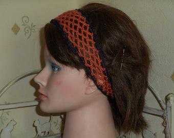 Orange crochet headband for hair