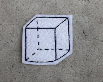 Geometric Cube Hand Embroidery Patch