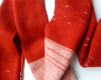 Handcrafted knitted & felted lambswool scarf, Scarlet Snow drop petals