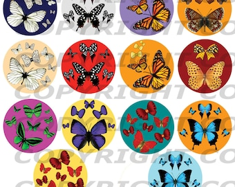 Digital IMAGES for cabochon butterflies and bow tie round 98