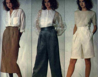 Vogue 1353 Wide waistband wide leg crop pants or shorts and skirt Size 10 Perry Ellis Vogue American Designer (uncut)
