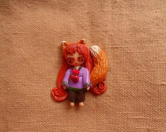 Kawaii Fox Girl, Cute Fox Jewelry, Girl Fox Jewelry, Fox Girl pin, Fox girl brooch, Anime Fox Girl, Little Fox Girl, Kawaii Jewelry