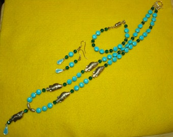 Aqua lentil beads with silver fish necklace set