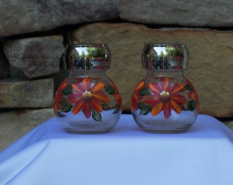 Hand Painted Glass Salt and Pepper Shakers with Daisies
