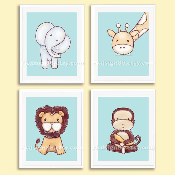 Nursery art print baby boy nursery decor kids wall art zoo for Elle decor nursery