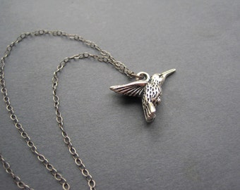 Hummingbird Necklace - Oxidized Sterling Silver Hummingbird  Necklace - Pewter - Bird Necklace - Nature Inspired - Outdoor -Bird Lover Gift
