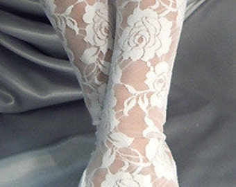 X Long white lace fingerless gloves arm warmers