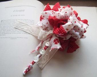 Vintage Fabric Mini Bridal Bouquet * Fabric Wand * Vintage Fabric Pom * Vintage Weddings * Flower Girls
