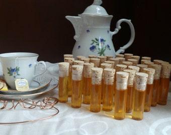 Tea Party Honey Favors, 30 FRESHLY FILLED & Safety Sealed Glass Vials