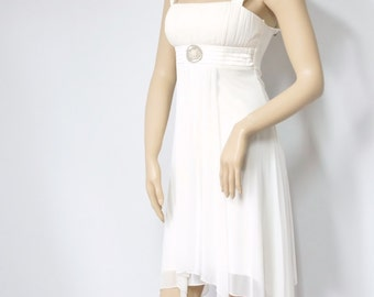 Robe années 1990 robe Vintage Style Disco robe mariage de Cocktail sans manches blanc crémeux Empire taille Prom robe petite taille