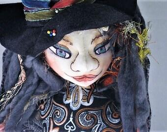 Witch Cloth Art Doll, Halloween Bust Art Doll, Fairy Witch Fantasy Holiday Decor Soft Sculpture, Samhein OOAK Doll Bust