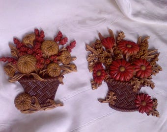 Burwood, wall hangings, mid century, made in the USA, Set of 2 Burwood Products, 1977 , Flower basket wall decor