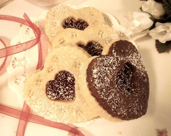 Heart Shaped Butter Sugar Cookie-Cocoa with Raspberry Jam for Her, Birthday, Valentines Day, Combo 1 doz- Wedding Favors