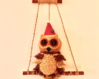 Crochet Christmas Owl Ornament, Christmas decoration, Owl Christmas Gift