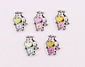 Set of 5 wooden cow buttons