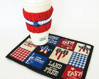 USA Mug Rug and Cup Cozy Set; America Snack Mat; Knit Cozy; July 4 Mug Rug Set; Fourth of July Snack Set; USA Desk Snack Set; USA Souvenir