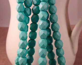 ARUBA 6mm Firepolish Saturated Teal Czech Glass Faceted Rounds - Aqua Turquoise Teal Blue-Green Seafoam - Qty 25 (6-137)