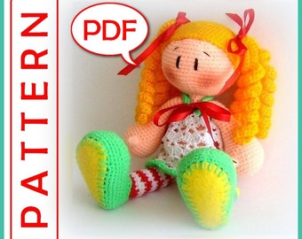 Lovely Doll in striped socks - Crochet toy Amigurumi pattern PDF