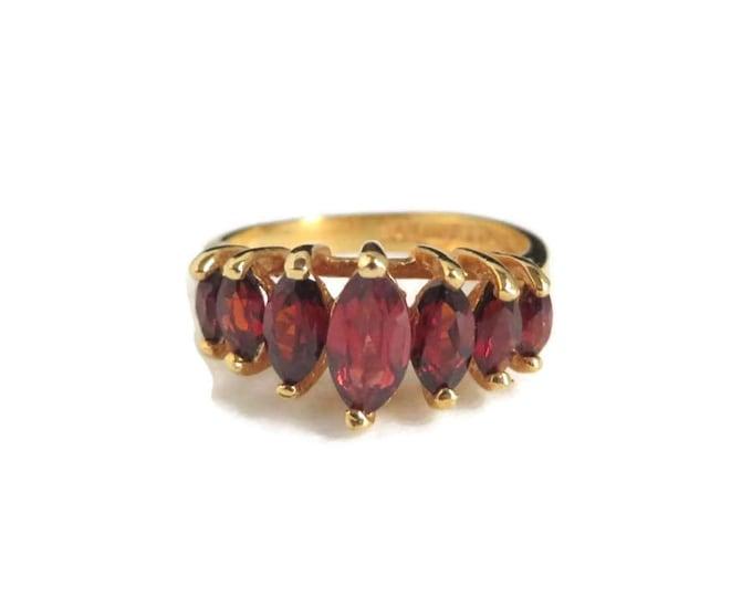 Garnet Ring, Vintage 14k HGE LIND Faux Garnet Ring, Multi-Stone Ring, Size 7, Gift for Her