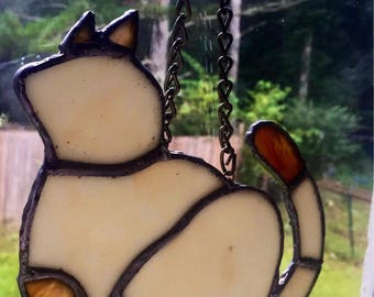 Cat sun catcher, Siamese Cat Suncatcher, Siamese Cat, sun catcher, stained glass