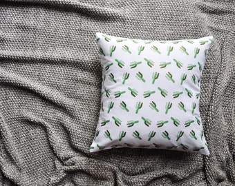 Cactus Print White Envelope Cushion Cover