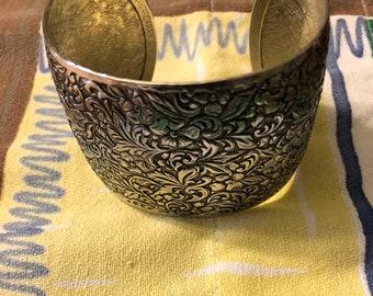 Vintage Sarah Coventry Silver Leaf Pattern Cuff Bracelet