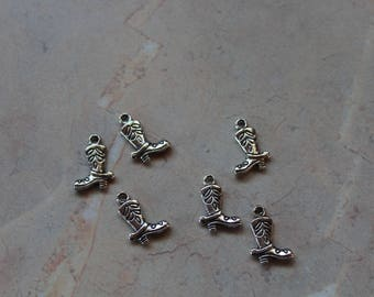 Cowboy boot for girls, with spur, silver metal charms