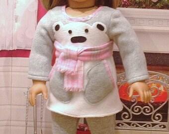 Little Polar Bear Dress, Hat and Leggings for American Girl