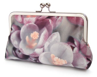 Clutch bag, crocus flower silk purse, bloom, pink petals, mauve, purple, wedding purse, flower clutch, bridesmaid gift
