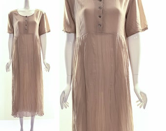 Vintage 90s DONNA KAREN Beige Silk Crinkle Maxi Dress MINIMALIST Grunge Sheer Gauzy Baby Doll Maxi Dress Small Medium
