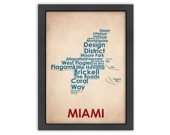 Miami Word Map, 100% Original Design from Flatiron Design