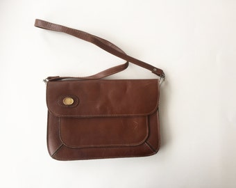 Vintage Chocolate Brown Genuine Leather Purse / Vintage 80s Leather Handbag / Shoulder Bag / Vintage Brown Leather Shoulder Bag or Clutch