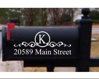 Monogram House Numbers Mailbox Decals Address Sign Front Door Decor New Home Gift Mail        Vinyl Decal