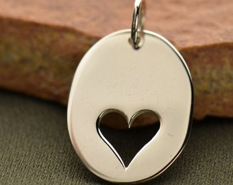 Sterling Silver, Oval Charm, Heart Cutout, Heart Charm, Heart Jewelry, Heart Necklace, Love Charm, Love Pendant, Silver Heart Charm