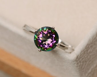 Mystic topaz ring, sterling silver, solitaire ring,  rainbow topaz ring