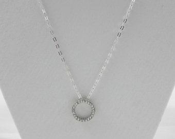 Silver circle pendant necklace