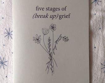 Five stages of (break up) grief zine