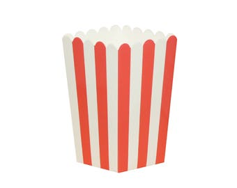 10 Red Popcorn Boxes Red Striped Popcorn Boxes Red Circus Popcorn Boxes Red Popcorn Scoop Circus Party Favors Christmas Popcorn Boxes
