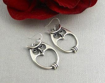 Cyber Monday Sale Owl Earrings, Bohemian Earrings Silver Owl Earrings, Owl Jewelry, Boho earrings Owl Earrings, Silver Earrings